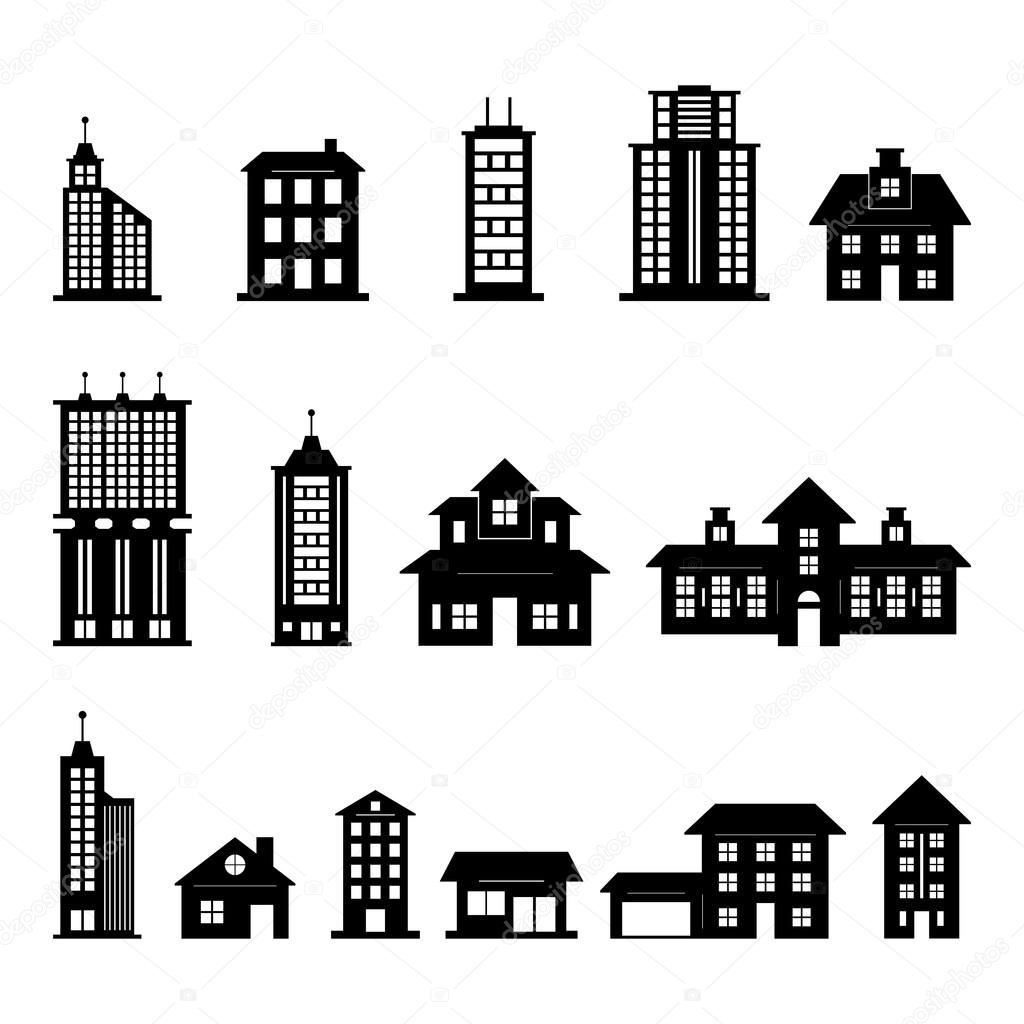 Building Black and White set 3 — Stock Vector © Tzubasaz