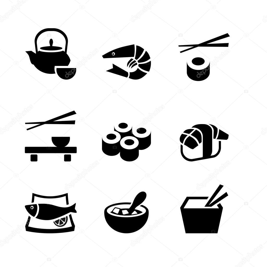 Conjunto De 9 Icones Comida Japonesa