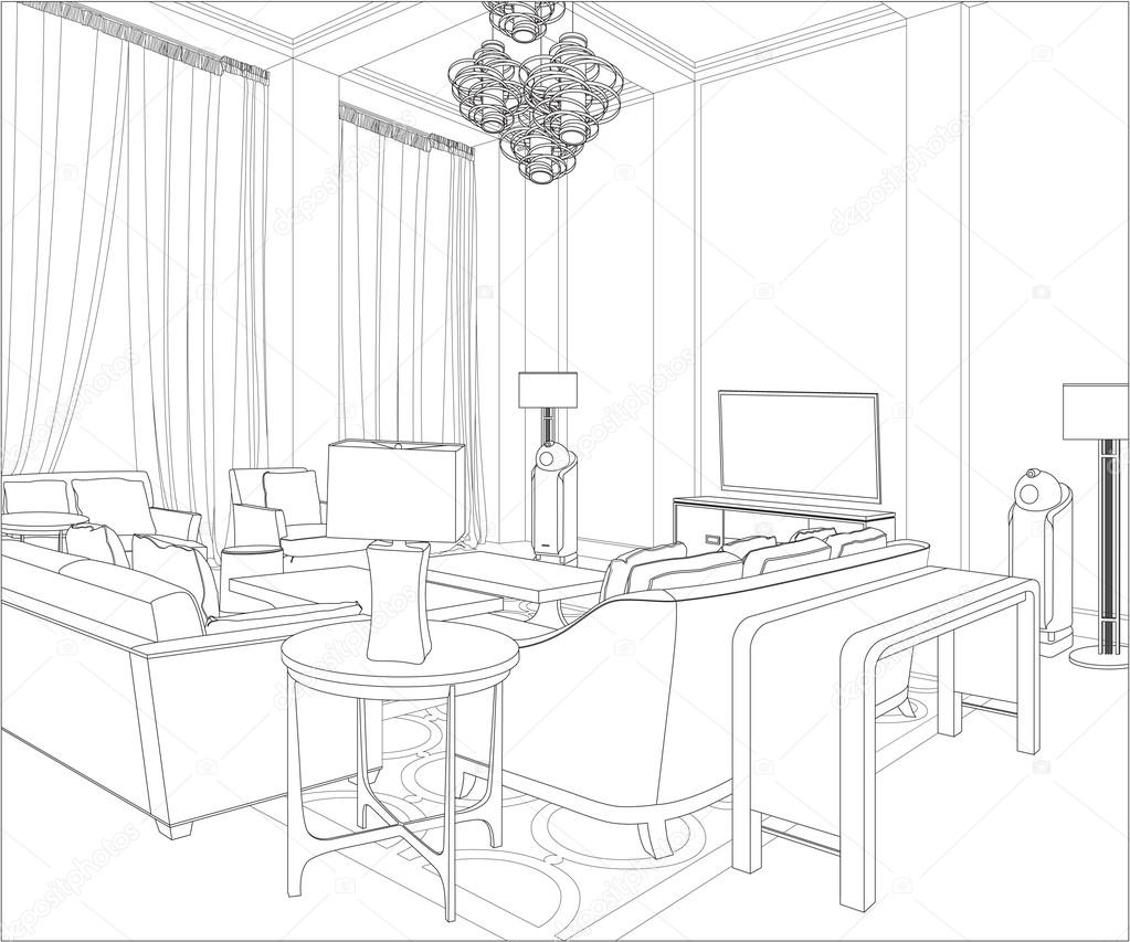 3D Graphical drawing interior — Stock Vector © polina21