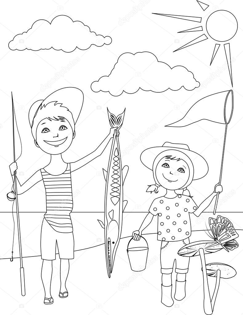 Summer activities for kids coloring page — Stock Vector