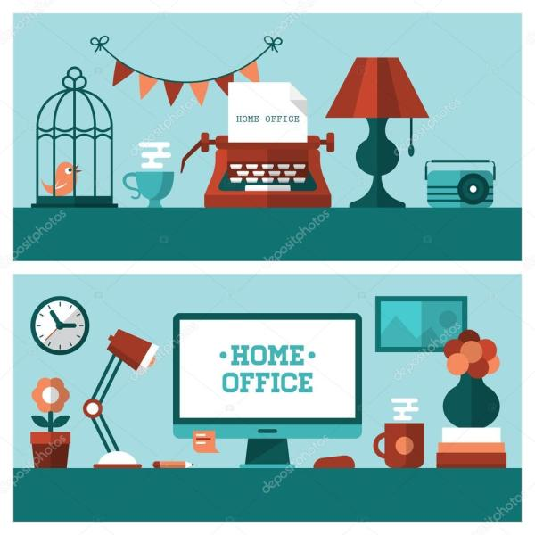 Vintage Home Office And Modern Workplace Stock Vector