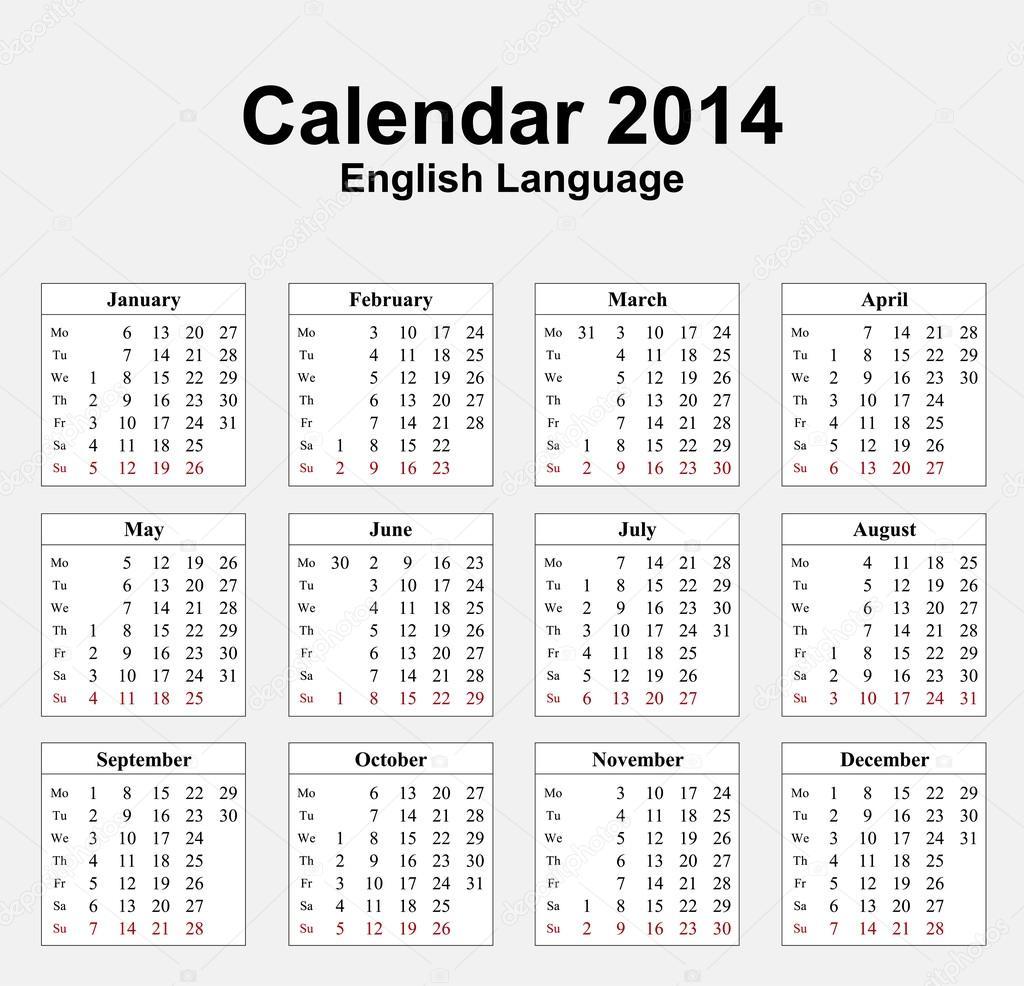Calendar 2014 English Type 13 — Stock Vector