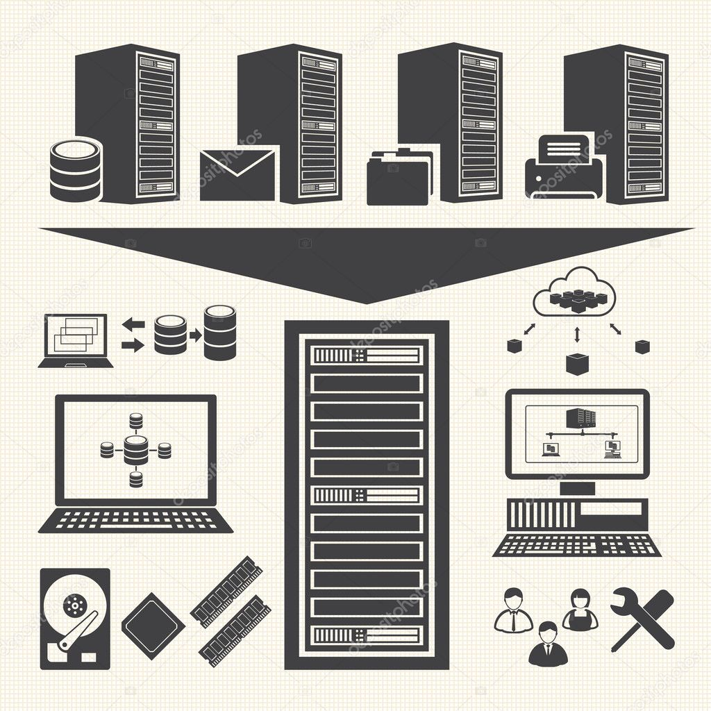 Data management icons set. System Infrastructure Vector