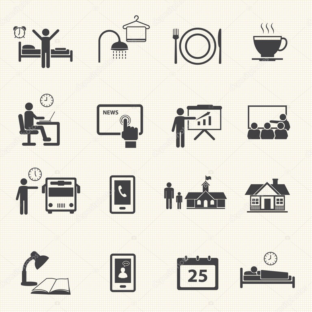 Man Daily Routine Icons — Stock Vector © Kittichai #33856995