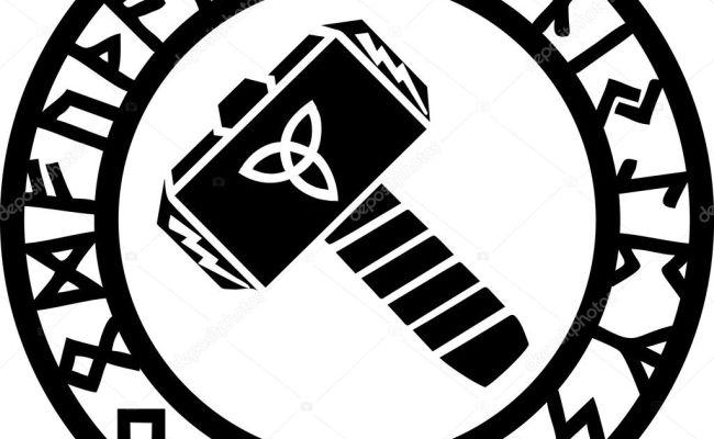Thors Hammer Runes Triquetra Flash Stock Vector