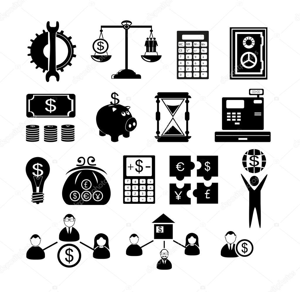Ícones de gestão de recursos humanos — Vetores de Stock