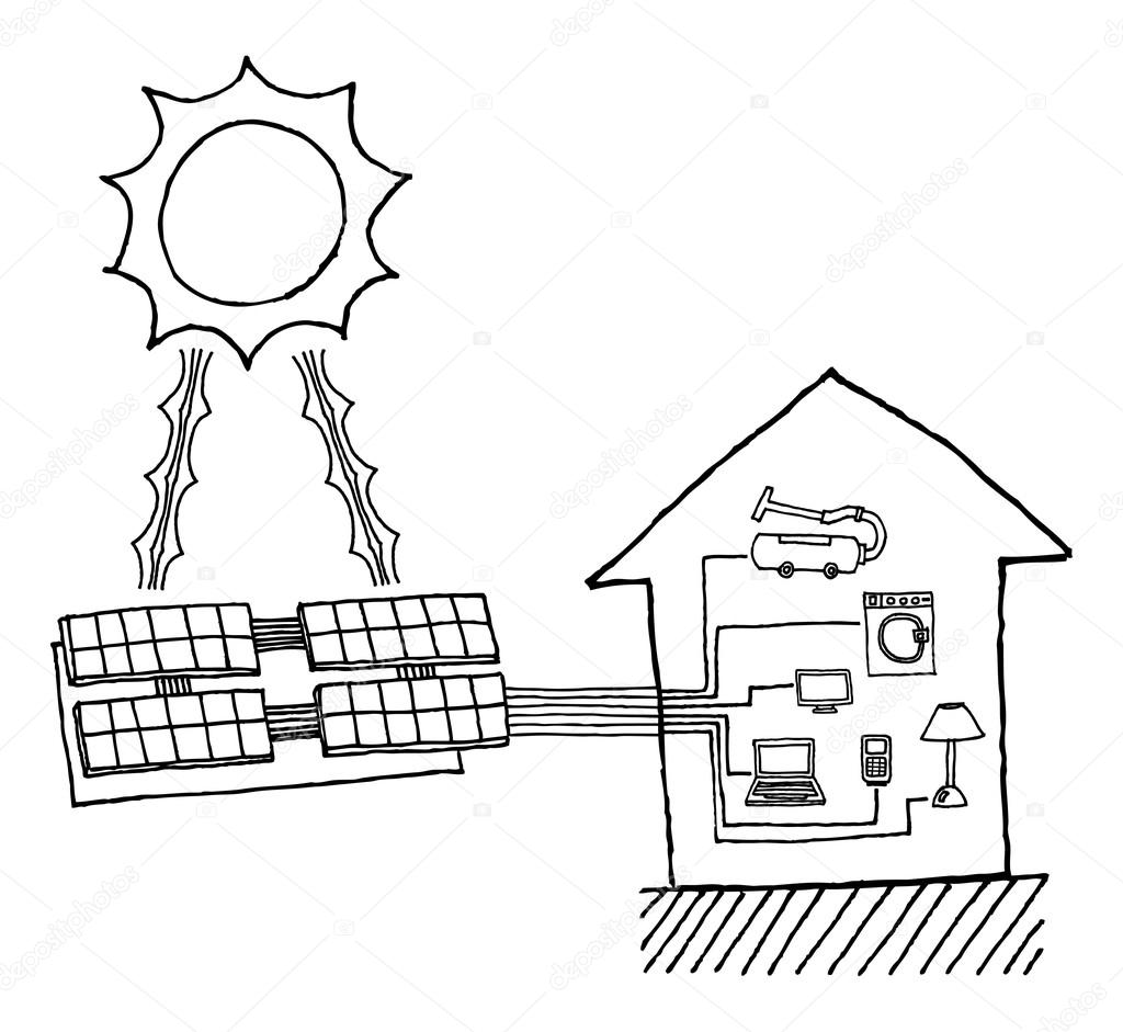 Solar power graphic. Cheap energy working diagram — Stock Vector © Curvabezier #23887221