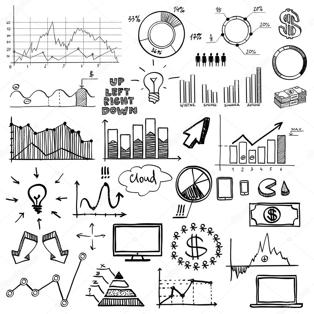 Hand Draw Doodle Web Charts Business Finanse Elements On