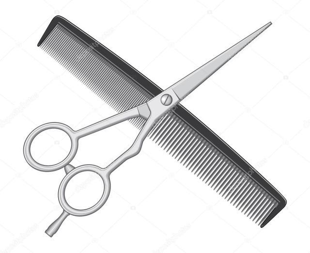 Scissors and Comb Hair Cut  Tools   Stock Vector