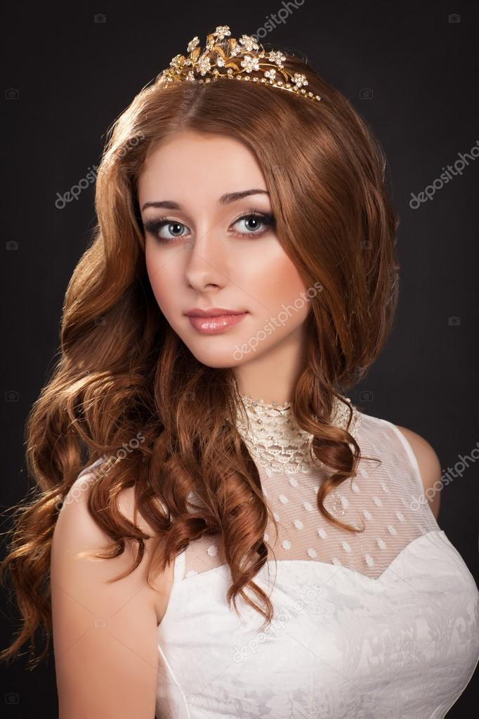 Beautiful Bride Red Hair Woman In Wedding Dress With