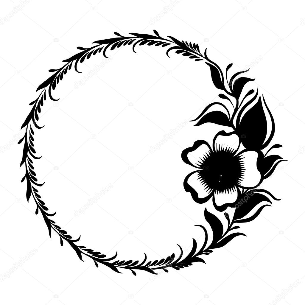 Silhouette Frame Branch Of Tea With Flowers And Leaves