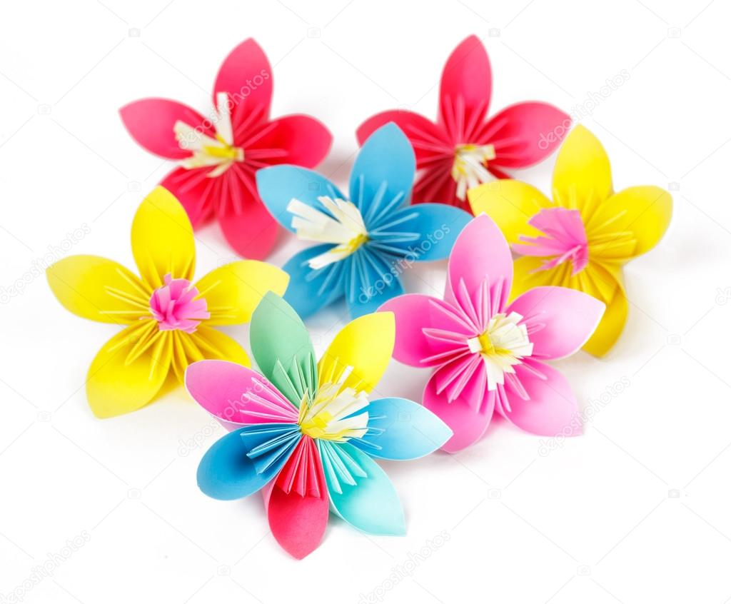 Seven Colored Paper Flowers And Flower With Varicolored