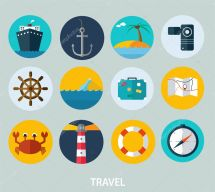 Travel Icons Flat Design Of Web And Mobile