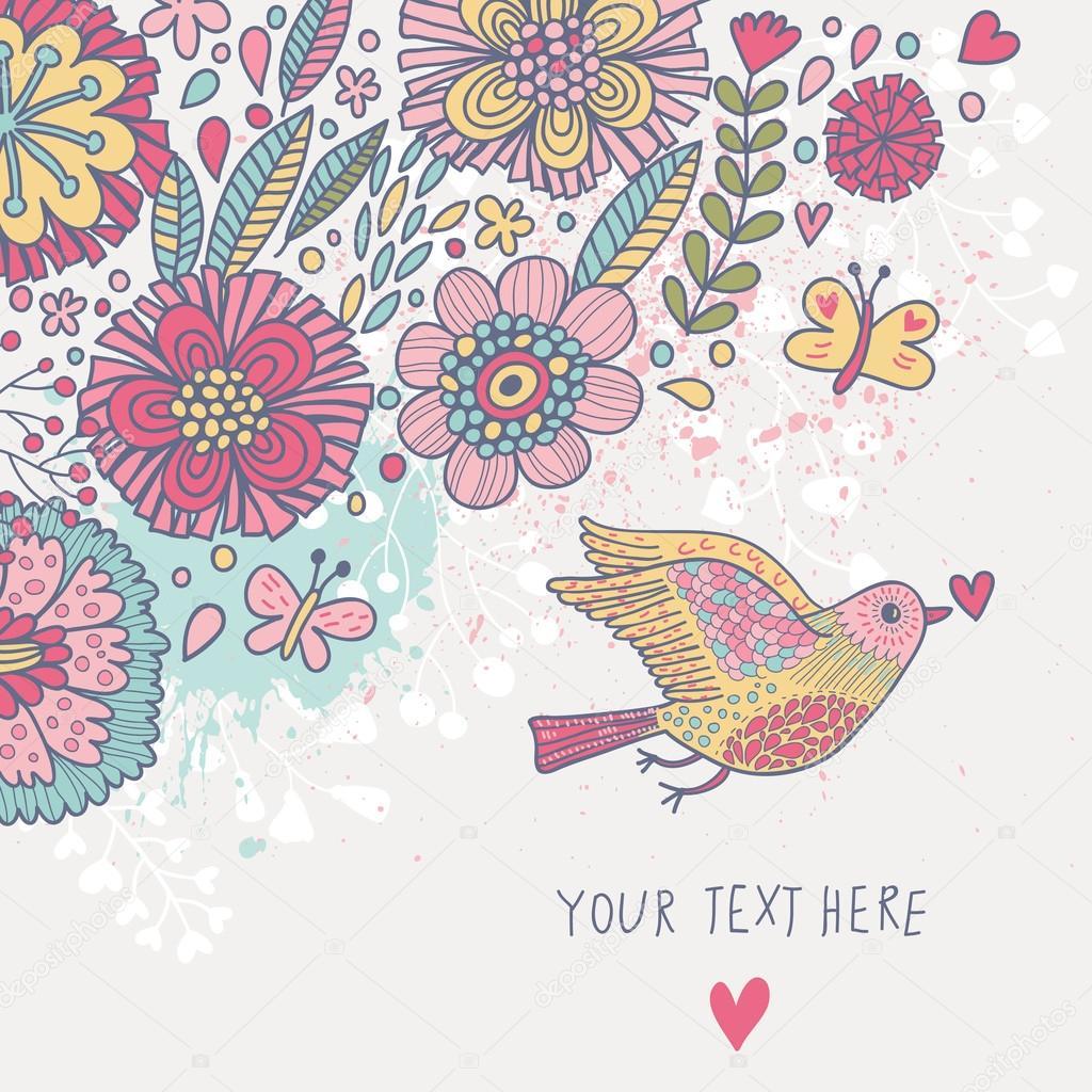 Colores de fondo vintage pastel de color papel tapiz floral con aves y mariposas tarjeta