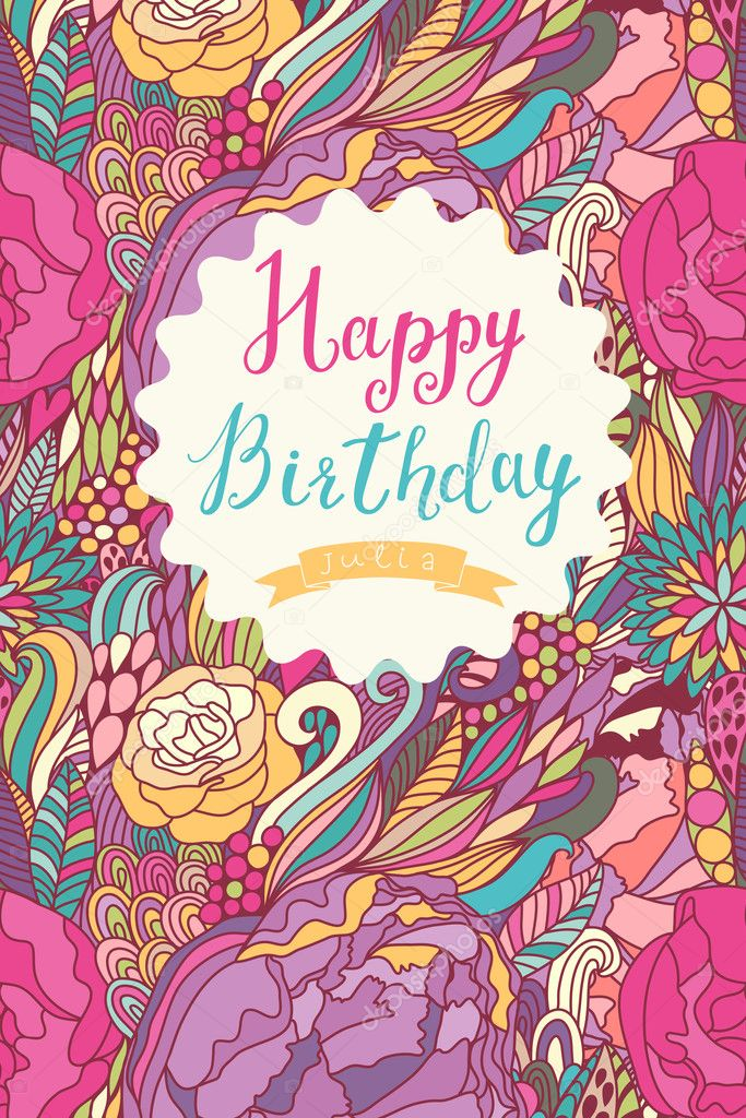 Happy Birthday Card In Fantastic Bright Colors — Stock