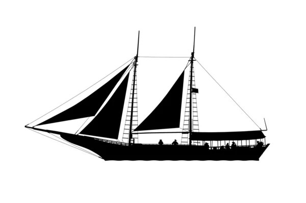 pirate ship side view silhouette — Stock Photo