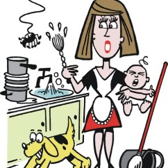Kitchen Signs For Work Island With Table 矢量卡通的超负荷工作的家庭主妇在厨房里 — 图库矢量图像© Click60 #26112959