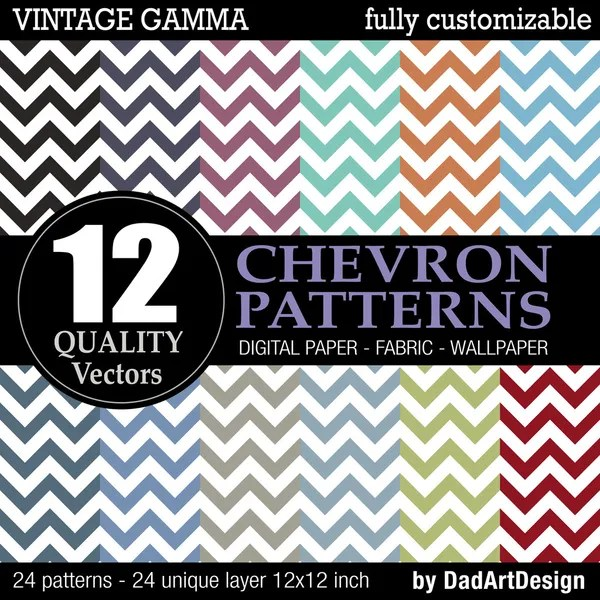 Set of 12 Chevron vector patterns, vintage color printable digital paper — Vettoriali Stock  #35076249