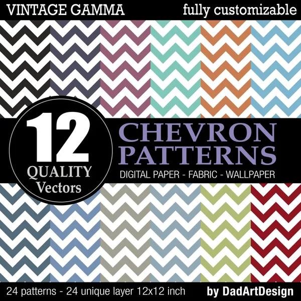 Set of 12 Chevron vector patterns, vintage color printable digital paper — Vettoriali Stock  #35076249