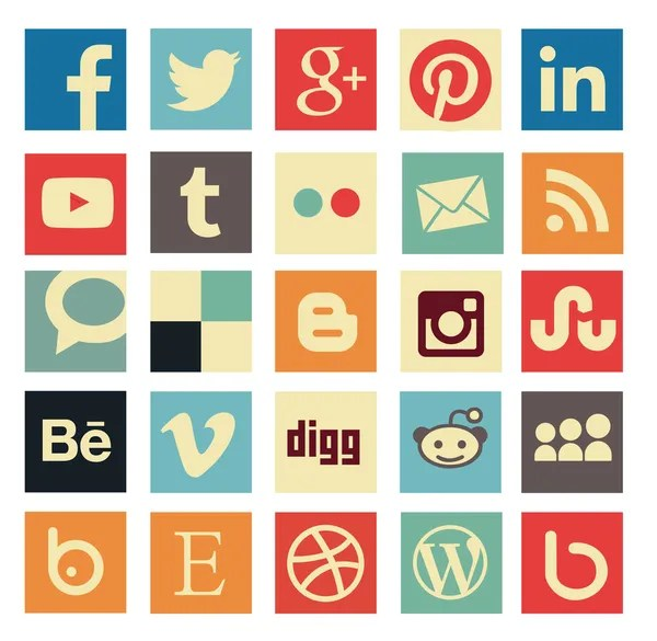 SIMPLE SQUARE VINTAGE SOCIAL MEDIA ICON SET
