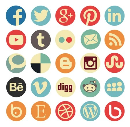 Vintage round icons - social media iconset