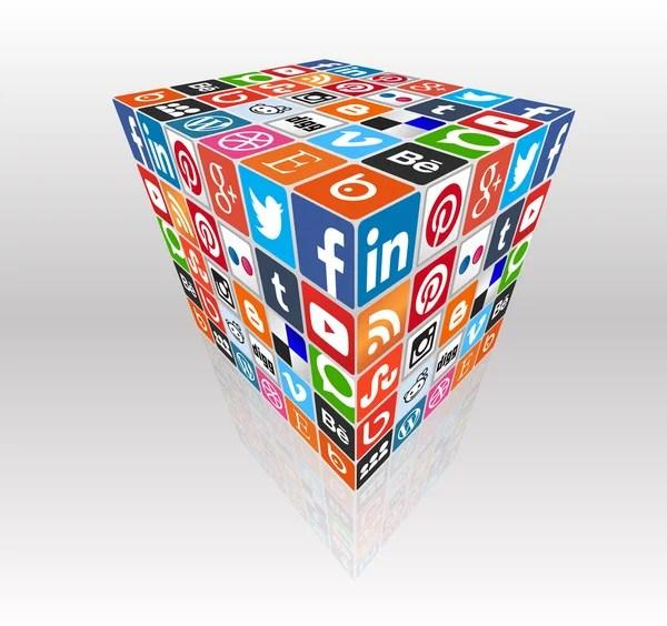 Social media concept cube — Vettoriali Stock