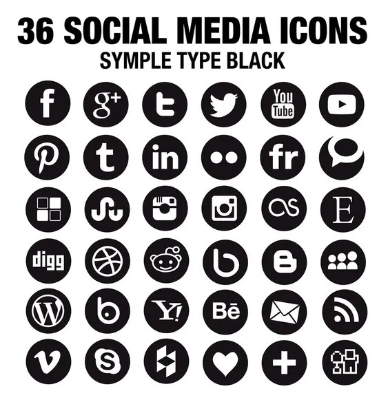 vector black round social media icons
