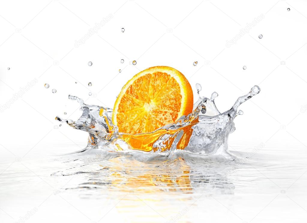 Water Falling Leaves Live Wallpaper Download Orange Slice Falling And Splashing Into Clear Water