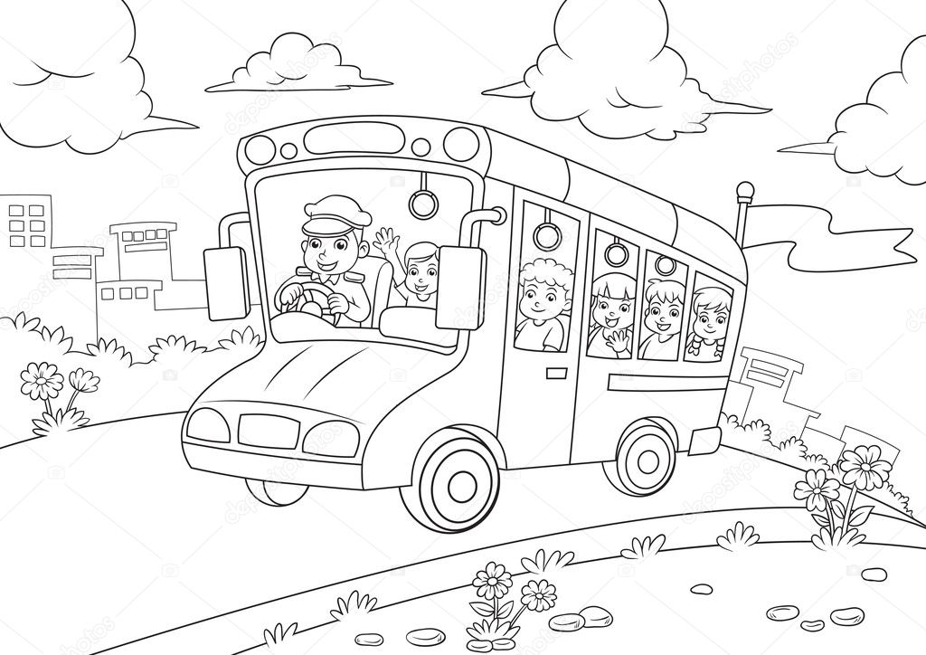 School bus outline for coloring book — Stock Photo