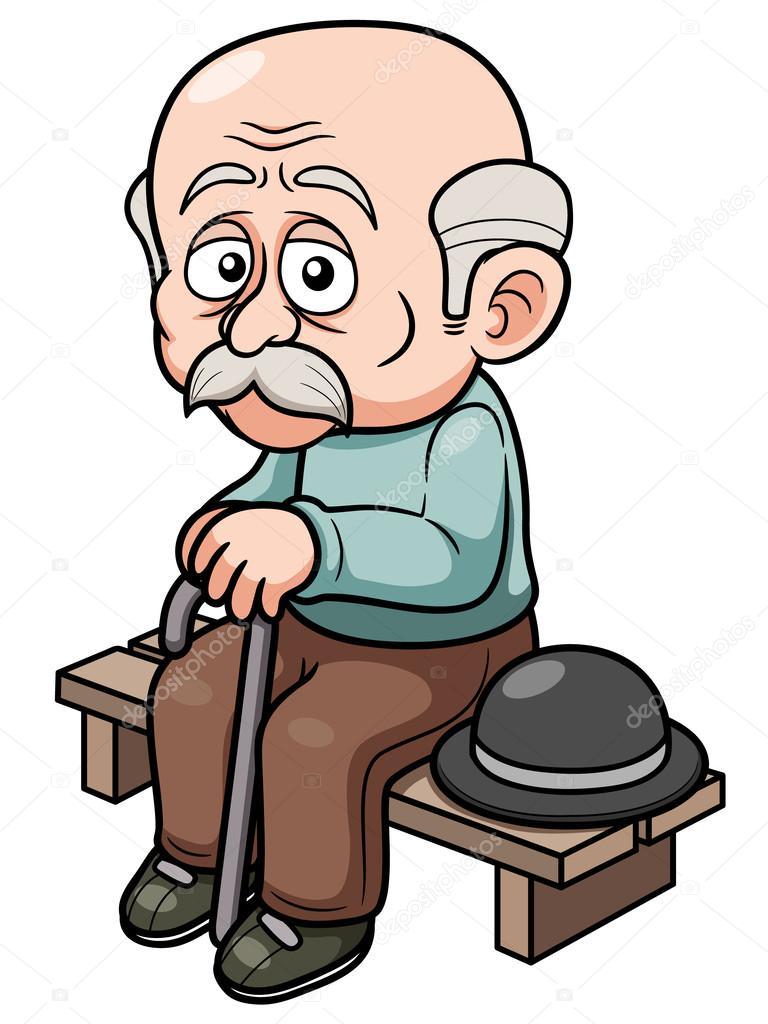 Old Man Cartoon : cartoon, Cartoon, Sitting, Bench, Vector, Image, Sararoom, Stock, 28934731