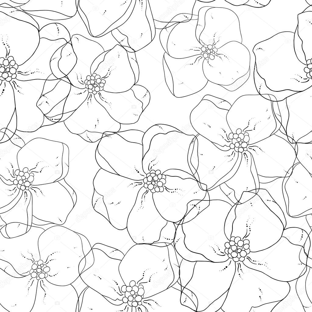 Seamless floral colored background. Black and white fabric