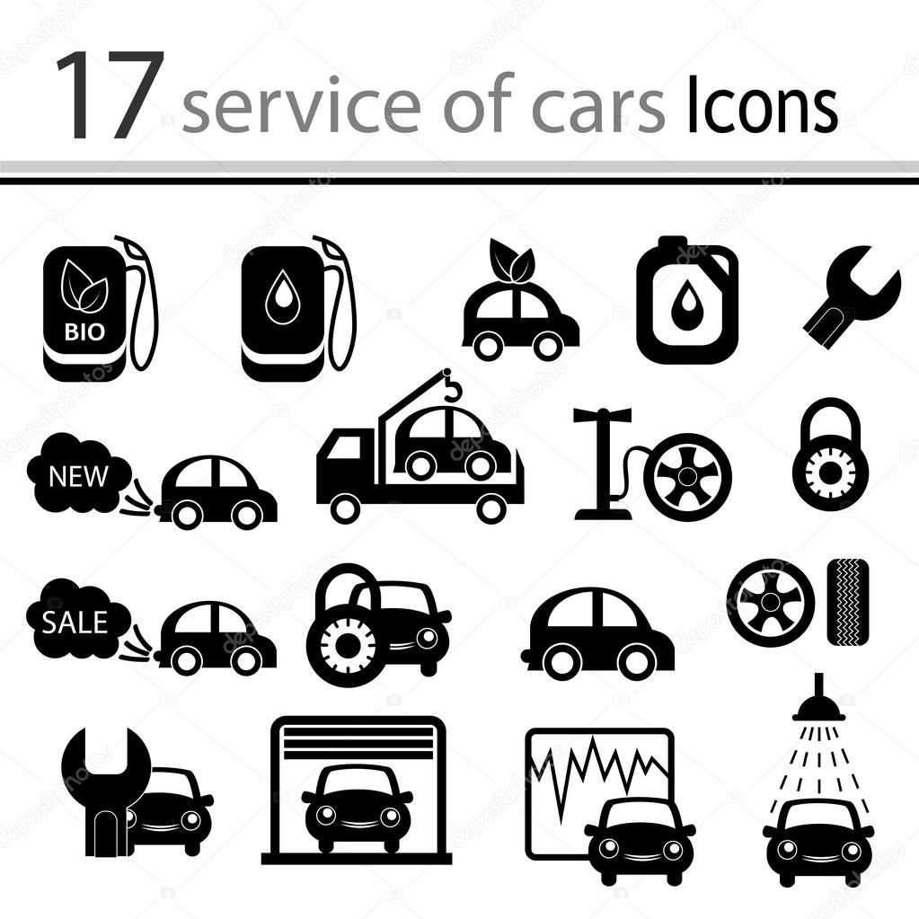 Car, mechanic, repair and maintenance icon set (vector