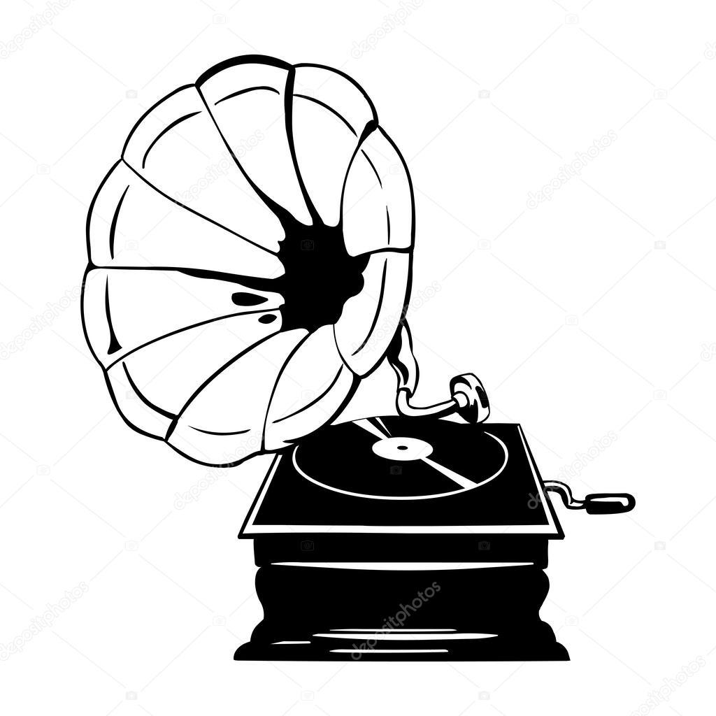 Vector old gramophone — Stock Vector © nikiteev #27559595