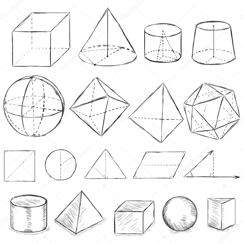 Vector set of dirty sketch geometric shapes — Stock Vector