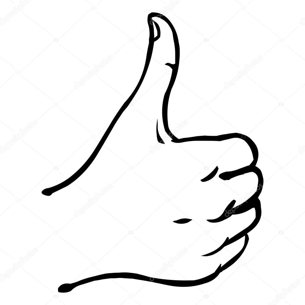 Vector Line Art Thumbs Up
