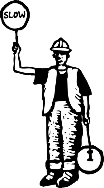 Woodcut Illustration of Flagman Road Worker — Stock Vector