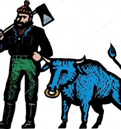 woodcut illustration of paul bunyan and his blue ox stock vector [ 1023 x 912 Pixel ]