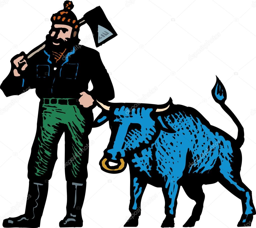 hight resolution of woodcut illustration of paul bunyan and his blue ox stock vector