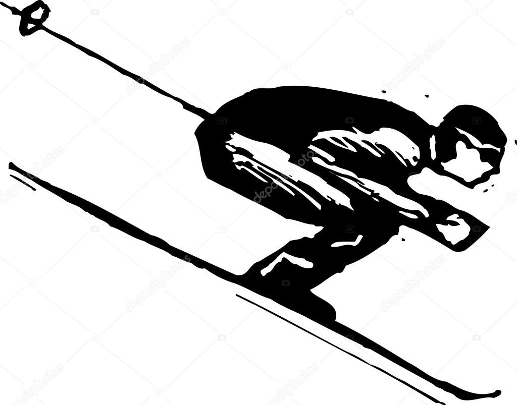 Vector Illustration Of Downhill Skier