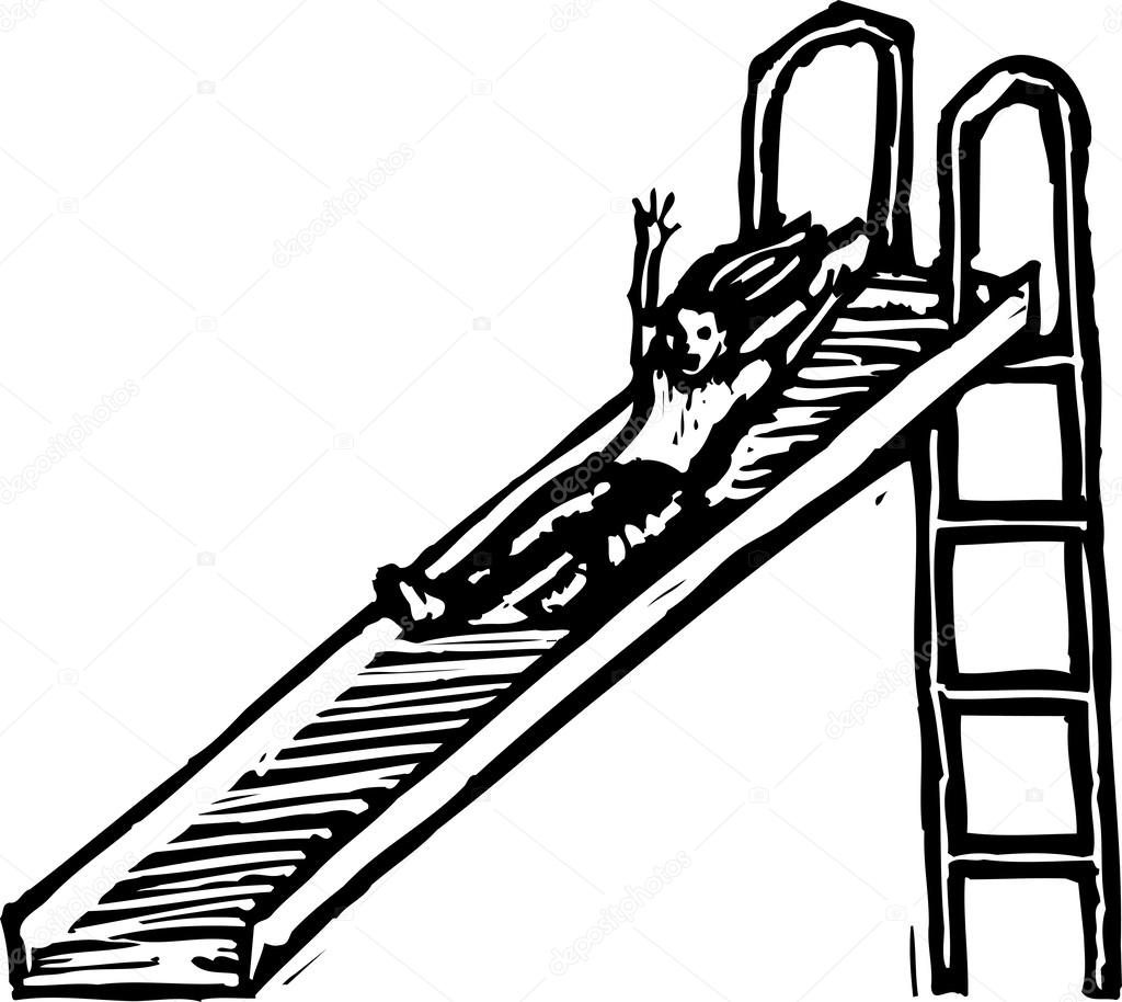 Rutsche Clipart Vector Illustration Of Girl Going Down Slide Stock