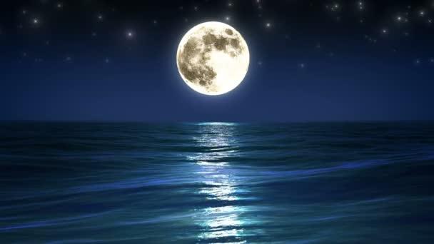 Mar y luna. cielo de la noche. animación de bucle. HD 1080. — Vídeos de Stock © 3dsilver_ #29799815