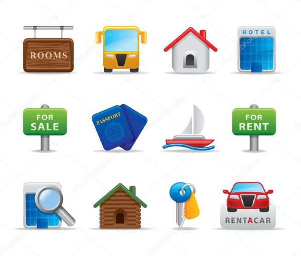 3D Travel icon and logo set for tourism services and small