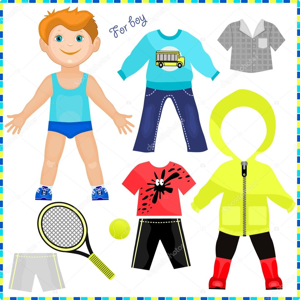 Paper Doll With A Set Of Clothes Cute Trendy Boy