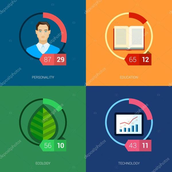 Flat Icon Infographic Template Set Education