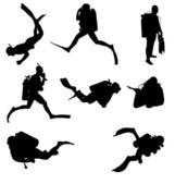 Scuba divers silhouettes — Stock Vector © nebojsa78 #2202722