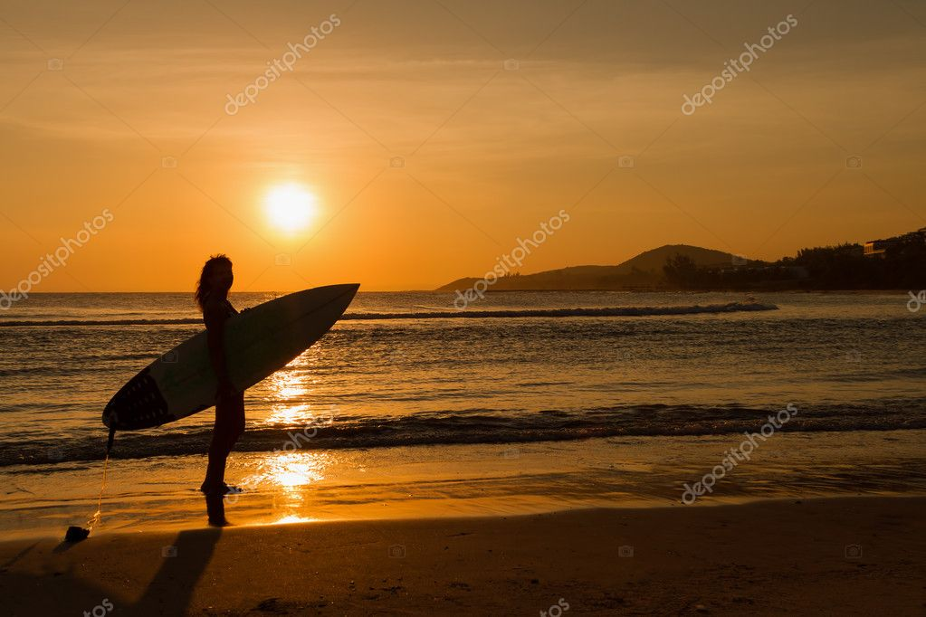 Girl On Surfboard Wallpaper Rear View Of Beautiful Sexy Young Woman Surfer Girl In