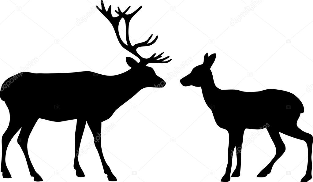 Download Two deer love silhouettes — Stock Vector © mrs_opossum ...