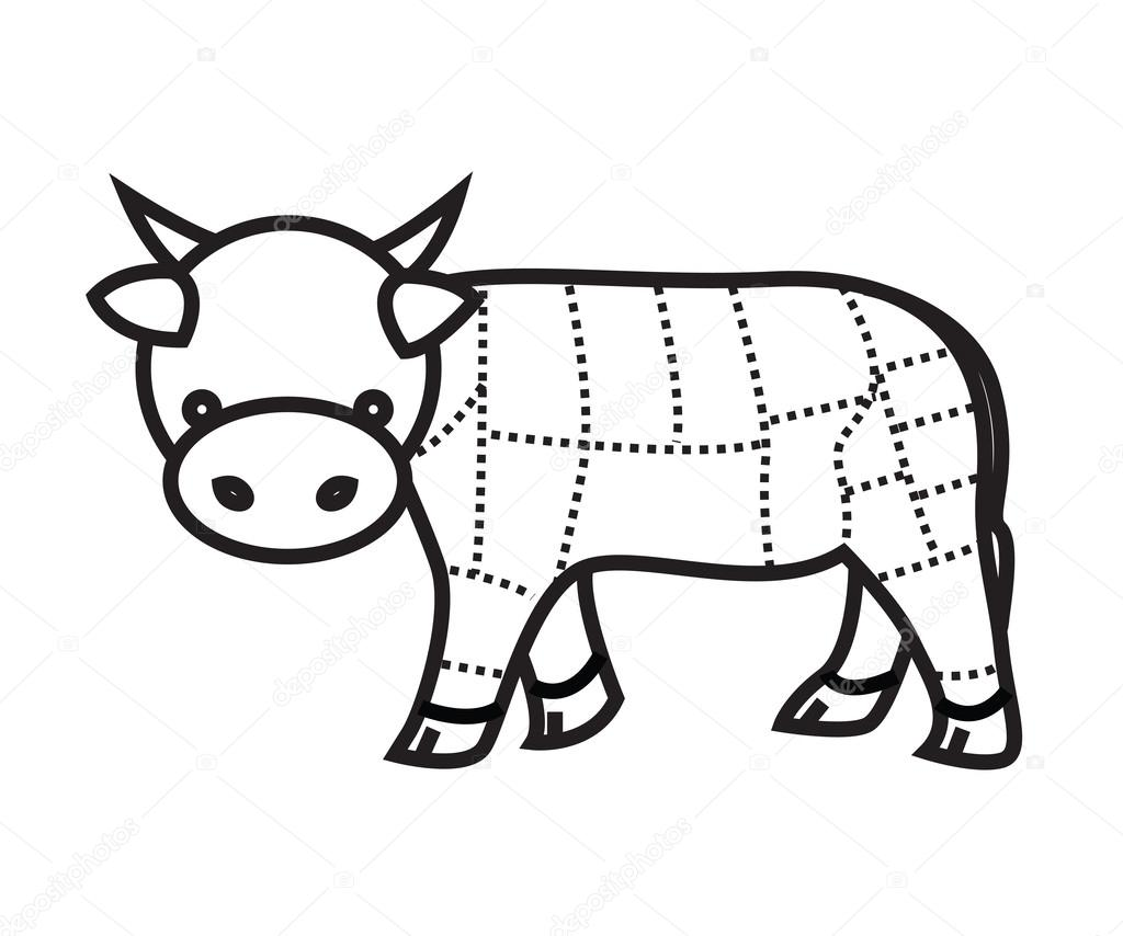 Carne Corta Grafico Vaca Isolado No Fundo Branco Vector