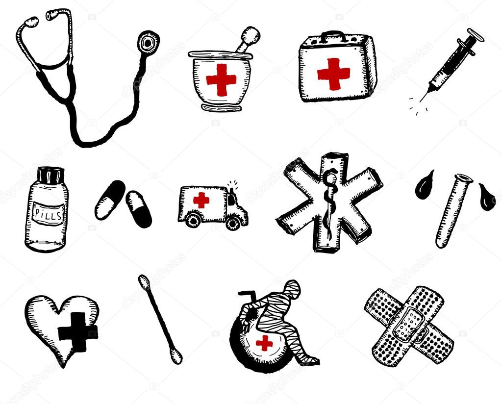 Healthcare And Medicine Doodle Icons Elements — Stock