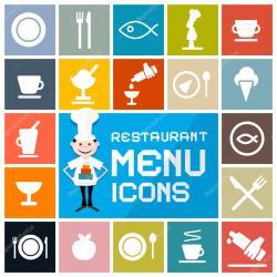 menu restaurant icons vector flat ristorante colorful het pictogrammen impostate icone segno utensile rosso schaduw lange illustratie diner google geplaatste
